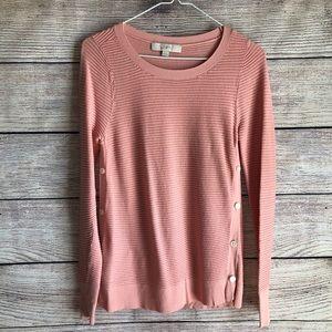 LOFT Blush Pink Side Button Ribbed Sweater